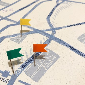 Detail of David's cork Jersey City map