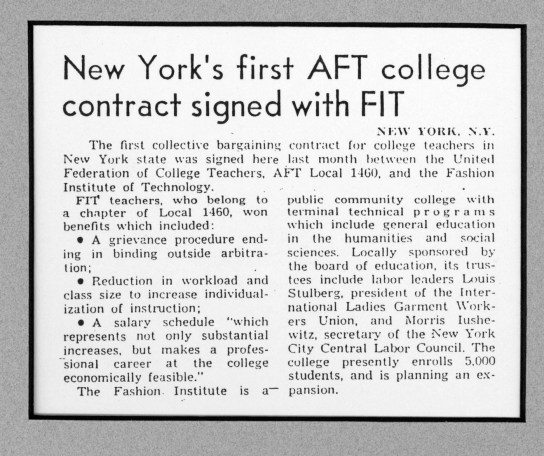A story about FIT's first union contract, signed in 1967.