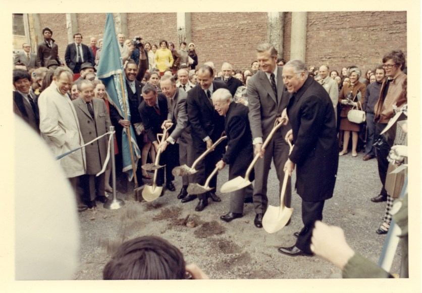 Ground breaking for four new buildings in 1969.