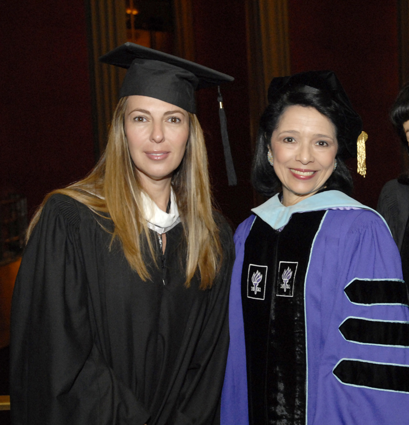President Brown with Nina Garcia '92 in 2010.