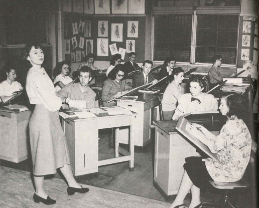 Sketching in class, 1947