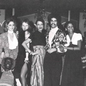 """In 1972, this photo appeared in a section titled, """"Puttin' on the Ritz."""" Perhaps it was a costume party, held in the student lounge, Binsky's."""