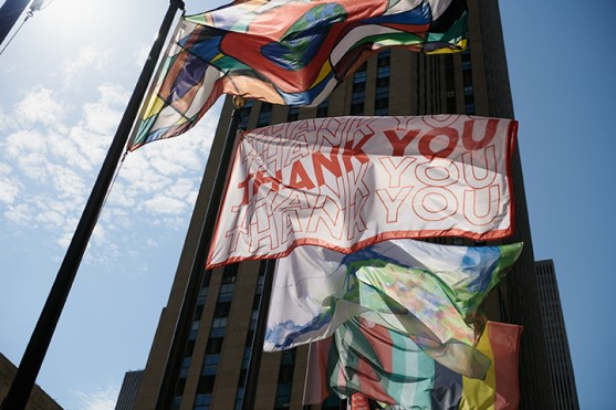 """Brooklyn-based Fabio Gherardi's flag design (center) """"is a small thank you note to everyone for their sacrifice during these trying times. Thank you! Thank you! Thank you!"""""""