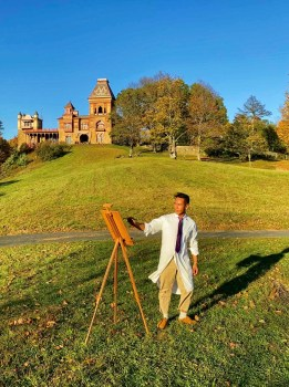 Model wearing Lindman New York at Olana tie, on the grounds of the historic site in Hudson, NY.