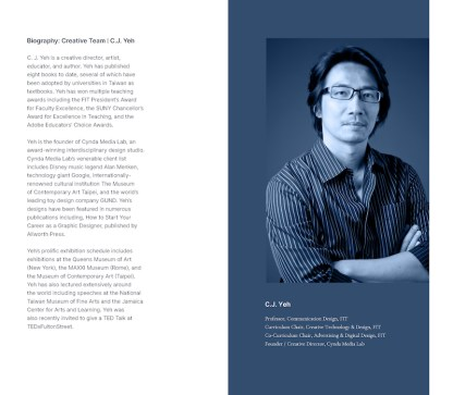 page of program with text and image of C.J. Yeh
