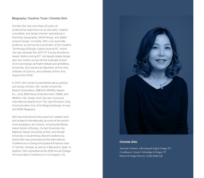 page of program with text and image of Christie Shin
