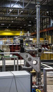 The temperature profiler from one of the ProtoDUNE detectors stands 8 meters tall. Photo: Cary Kendziora