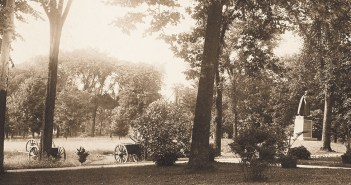 The elm-lined paths of the Rose Hill campus lead to a bronze statue of Fordham's founder, Archbishop John Hughes, dedicated on June 24, 1891, as a monument to the man who 50 years earlier saw a great university where only a manor house and a cottage once stood.