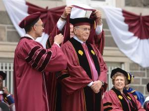 Mo Cunniffe is awarded an honorary degree at Fordham's 171st Commencement Ceremony on May 21, 2016. Photo by Chris Taggart