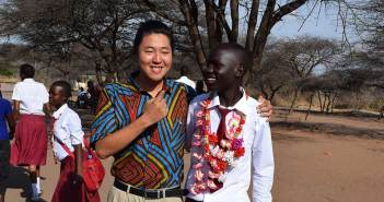 Kang Lee, FCLC '14, in Tanzania with one of his students