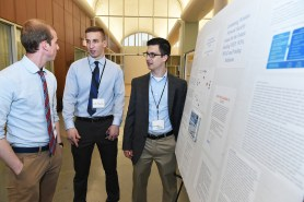 """Computer science majors Luke Johnston and Chris Mallozzi present their research, """"Combating Wireless Network Security Issues for the Future"""" at the 2017 Undergraduate Research Symposium. (Photo by Dana Maxson)"""