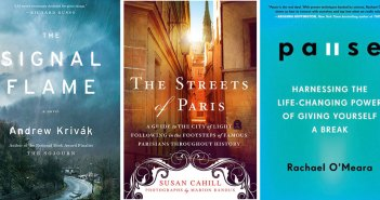 Composite image of the covers of three books by Fordham alumni: The Signal Flame, The Streets of Paris, and Pause