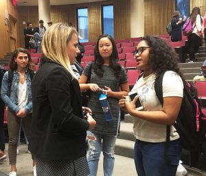 Sarah Greenwood meets with Gabelli students after her presentation.