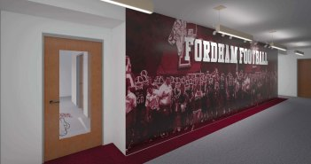 A rendering of a room in the Football Office Renovation and Improvement Project.