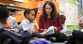 Kristen Guzman with her students.