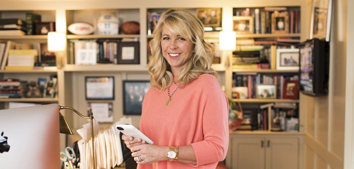 Fordham MBA graduate Liz Ann Sonders, chief investment strategist at Charles Schwab, in her home office