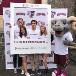 Last year, orientation coordinators were one of many Fordham groups that participated in Fordham's Giving Day.