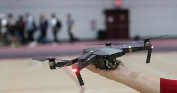 DJI Mavic Pro drone being held inside the Lombardi Fieldhouse
