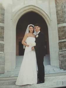 Gonzalez and his wife, Anne, on the steps of Keating on their wedding day