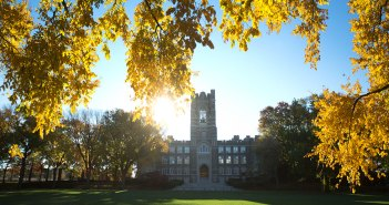 Keating Hall in the fall
