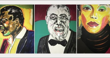A composite of three portraits painted by Frederick J. Brown