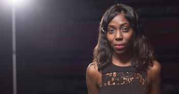 Actress and Fordham Theatre alumna MaYaa Boateng in the Veronica Lally Kehoe Studio Theatre at Fordham