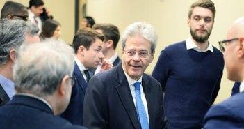 Former Italian Prime Minister Paulo Gentiloni,at the Gabelli School on Feb. 8