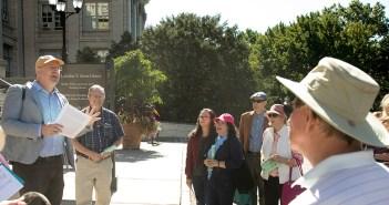 An alumni tour group led by Professor Matthew McGowan at the New York Botanical Garden
