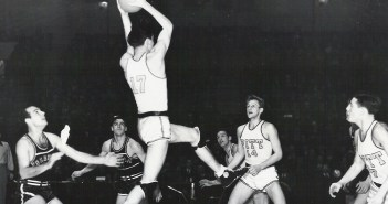 Fordham on the court against Pitt in the first live televised college basketball broadcast on February 28, 1940.