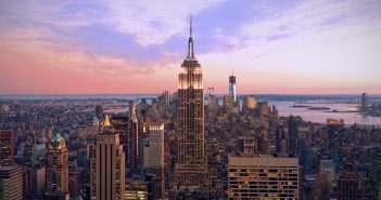 An aerial view of the NYC skyline at sunset or sunrise