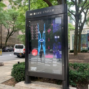 Sign announcing Fordham's new Main Stage theater season