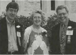 """Margaret """"Peg"""" Peil, center, along with two fellow alumni of Lawrence University in Appleton, Wisconsin in 1998. Photo courtesy of Lawrence Today."""