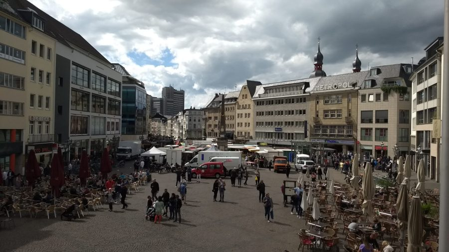 Bonn's central market square seen from the balcony of the old town hall. Ming Chun Tang