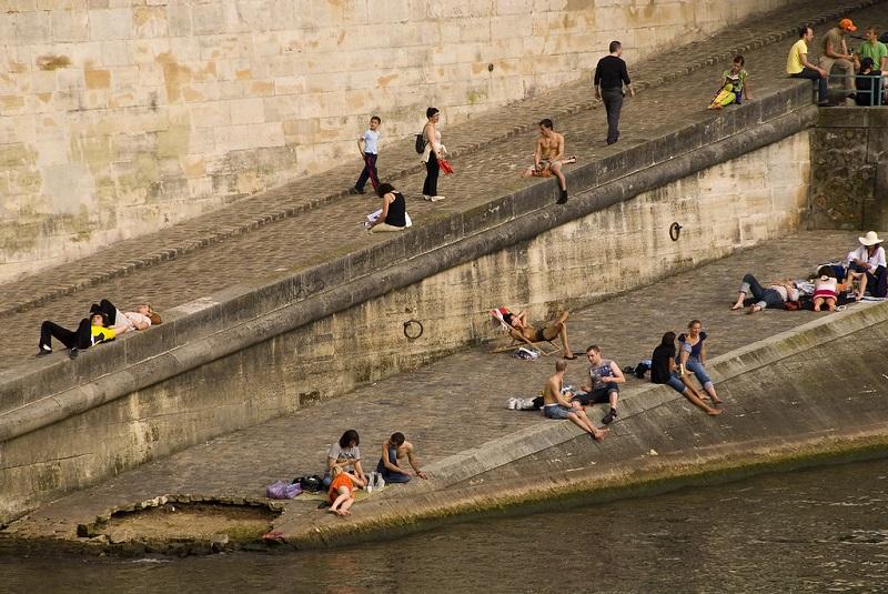 Sunbathers in Paris