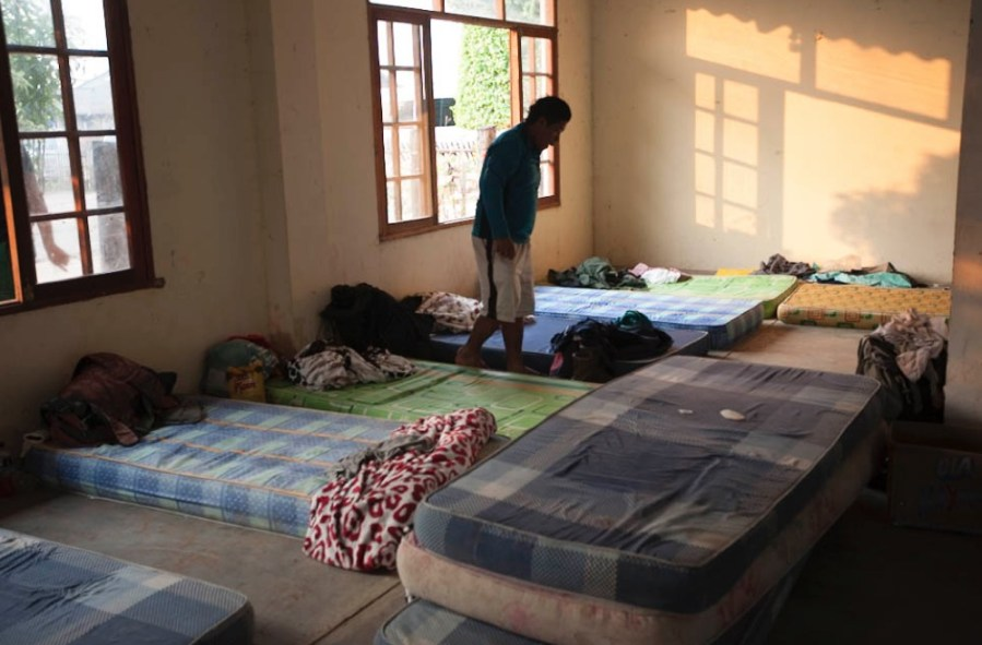 Improvised bedrooms for the firefighters in a Bolivian village. Jerome Maurice