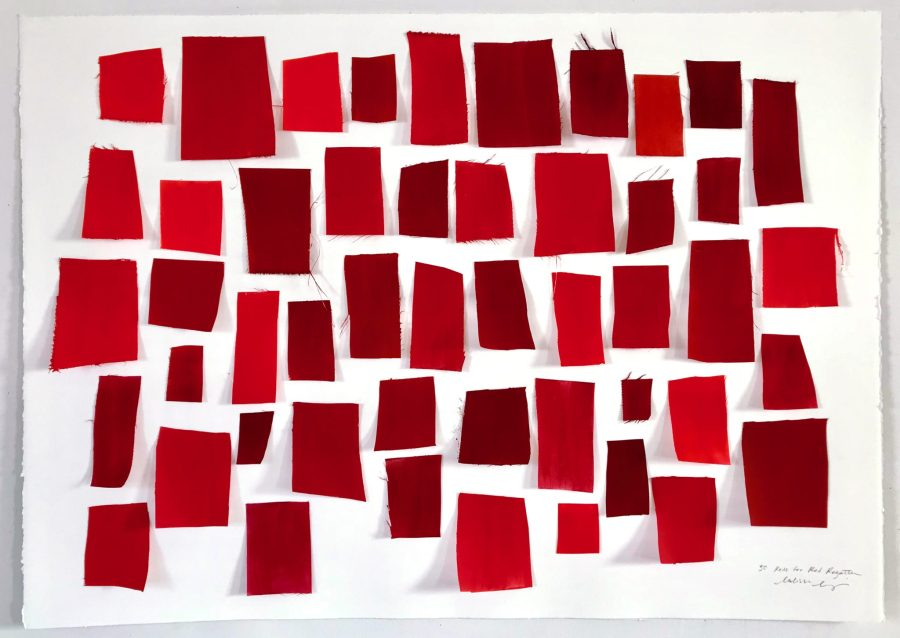 Shades of red developed by the artist reflect different emotions and elements of the city. Courtesy of Melissa McGill