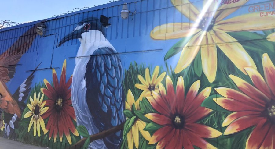 Along New York City's Newtown Creek, a new mural depicts the endemic wildlife returning to the restored ecosystem. Gabrielle Lipton, GLF