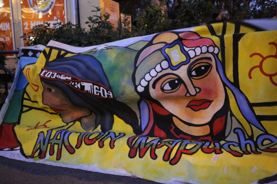 An artistic banner of Indigenous peoples at the strike. Melissa Kaye Angel, GLF