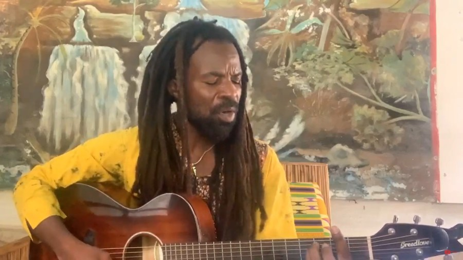 Ghanaian music artist and UN Goodwill Ambassador Rocky Dawuni plays in the digital conference. Courtesy of GLF