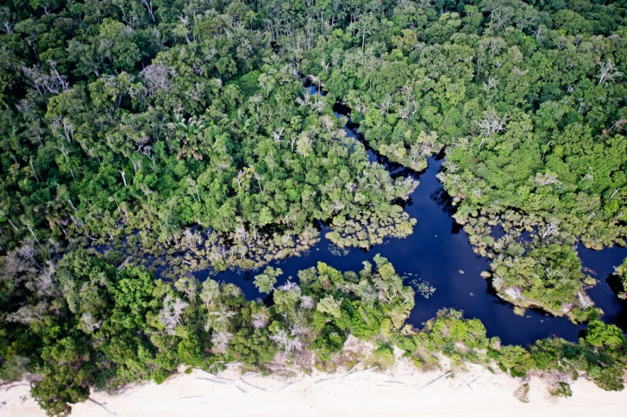 An aerial view of the Atlantic coastline in Gabon. Gabon's forests stretch to the coastline and are a haven of biodiversity. James Morgan, WWF