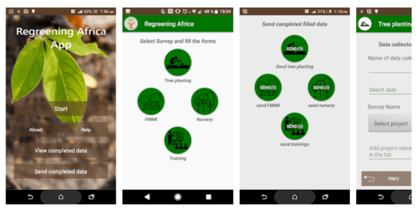 World Agroforestry's Regreening Africa app allows people to record valuable data on the trees they plant. Courtesy of ICRAF