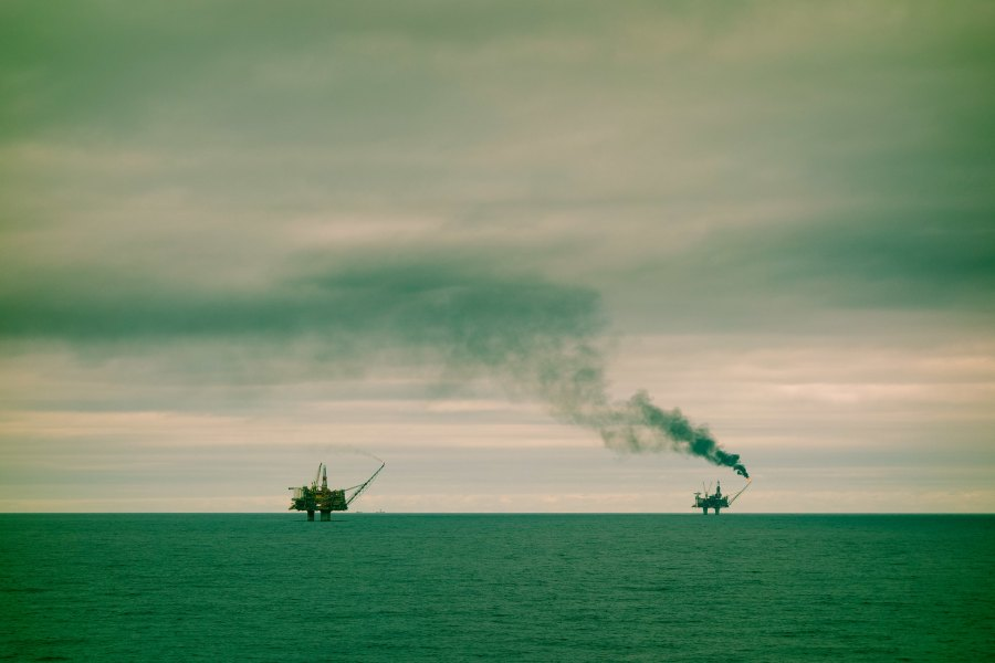 An oil field in the North Sea, where Denmark has been extracting oil and gas since 1972. Jo Christian Oterhals, Flickr