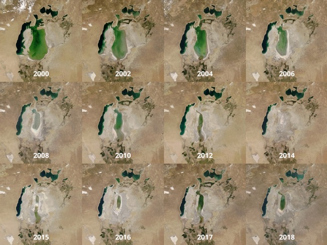 The shrinking of the Aral Sea over the last two decades. NASA Goddard Space Flight Center, Flickr