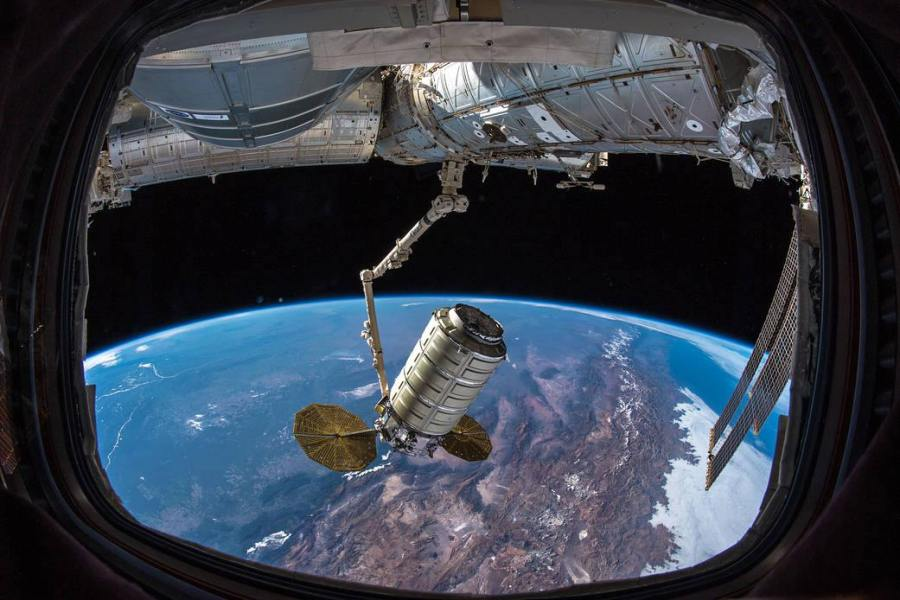 The student built CubeSat Radio Frequency Tag Satellite (RFTSat) is deployed from the International Space Station using a deployment system called SlingShot. NASA