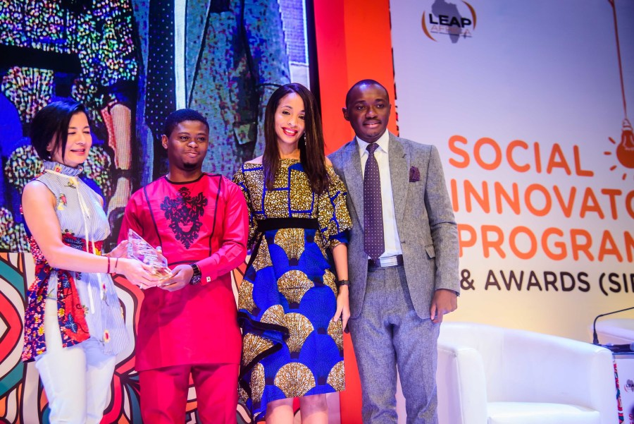 Nwuneli, second from right, at LEAP Africa's Social Innovation Programme's awards. Courtesy of Ndidi Nwuneli