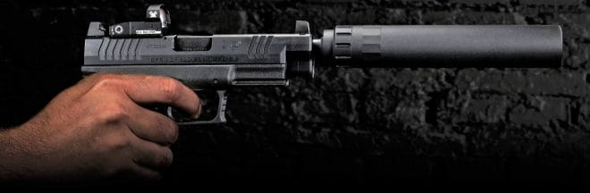 Springfield XD-M OSP 10mm with Gemtech suppressor mounted