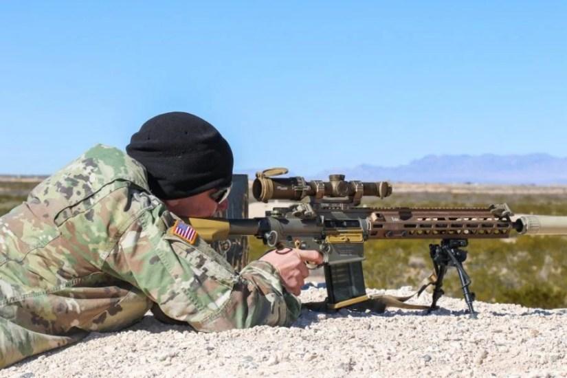 Fort Bliss Alpha Company 4-17 Infantry Battalion, 1st Stryker Brigade Combat Team, 1st Armored Division Squad Designated Marksman Rifle SDM-R Jan. 25 2019 HK G28 sig 1-6x24mm Tango6 (2)