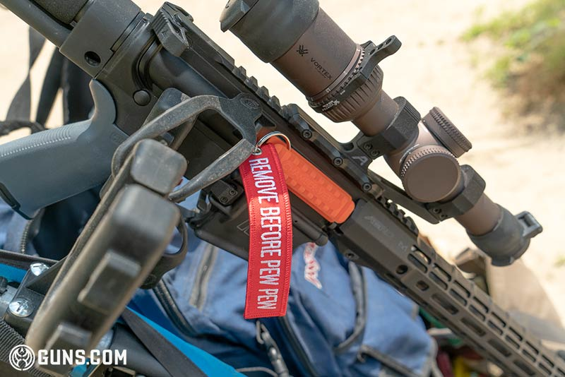 Remove Before Pew Pew safety AR15