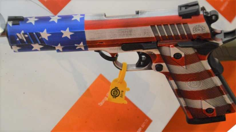 Taurus 1911 with red white and blue patriotic theme
