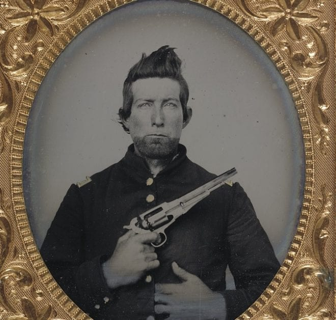 An unidentified cavalry soldier in Union frock coat with Remington New Model Army revolver. Please excuse the poor trigger discipline. (Photo: Library of Congress)